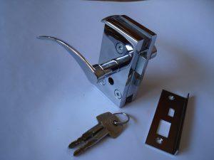 Fechadura com maçaneta para porta de vidro V/A.